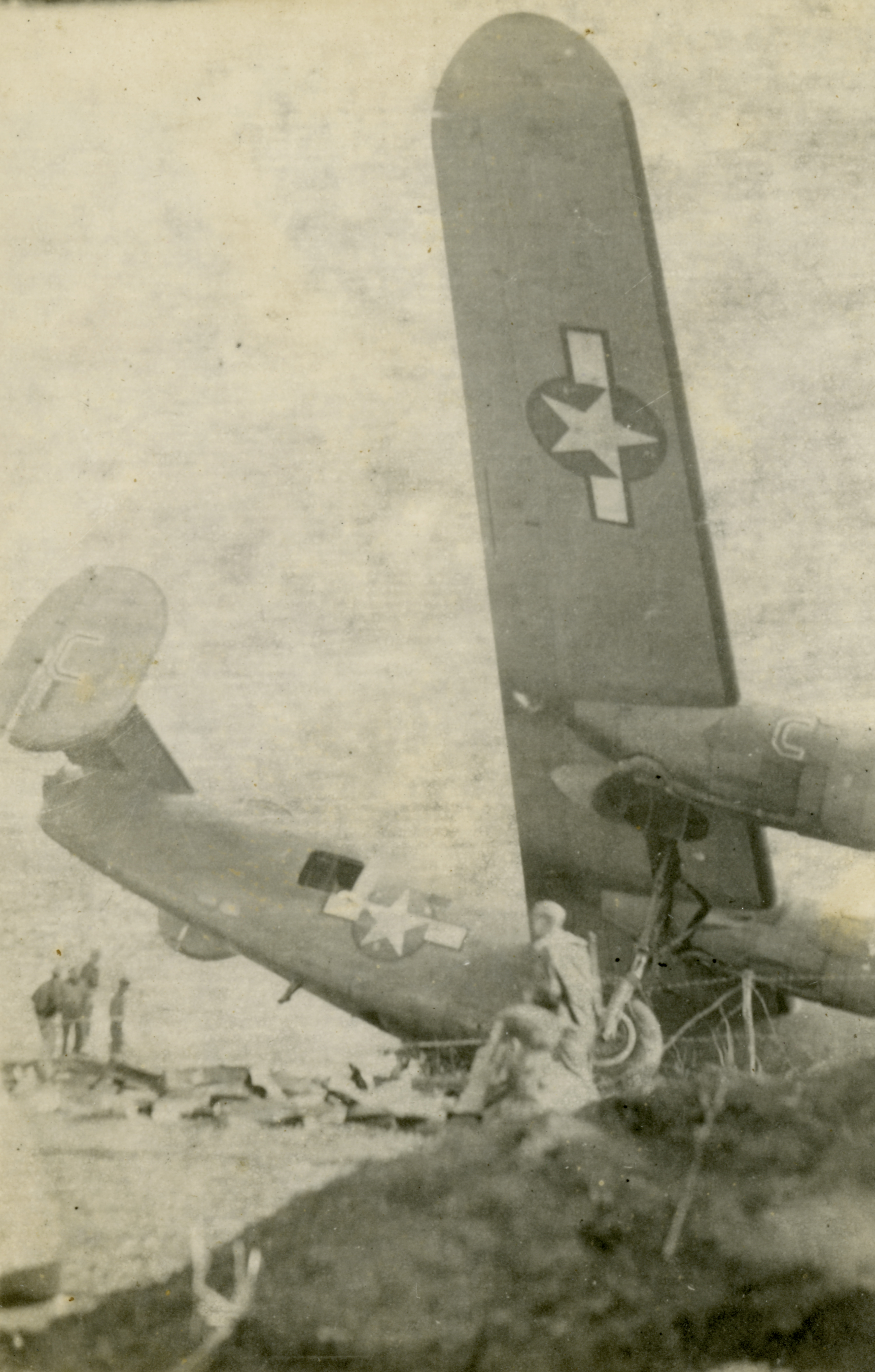 A B-24 crashed at the end of a runway in Gerbini, Sicily