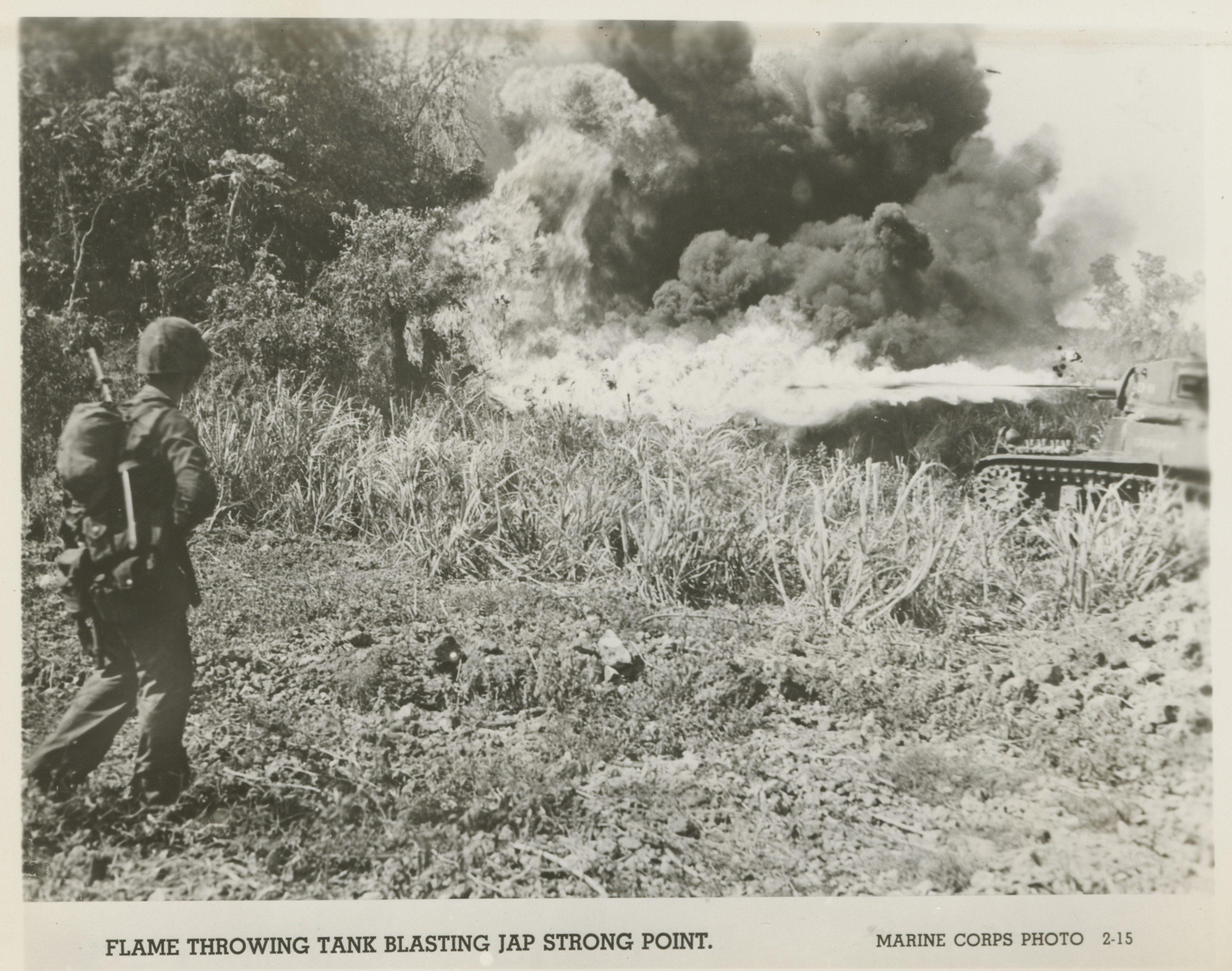 Us Tank Firing A Flamethrower At Japanese Fortification Saipan 1944 The Digital Collections Of The National Wwii Museum Oral Histories